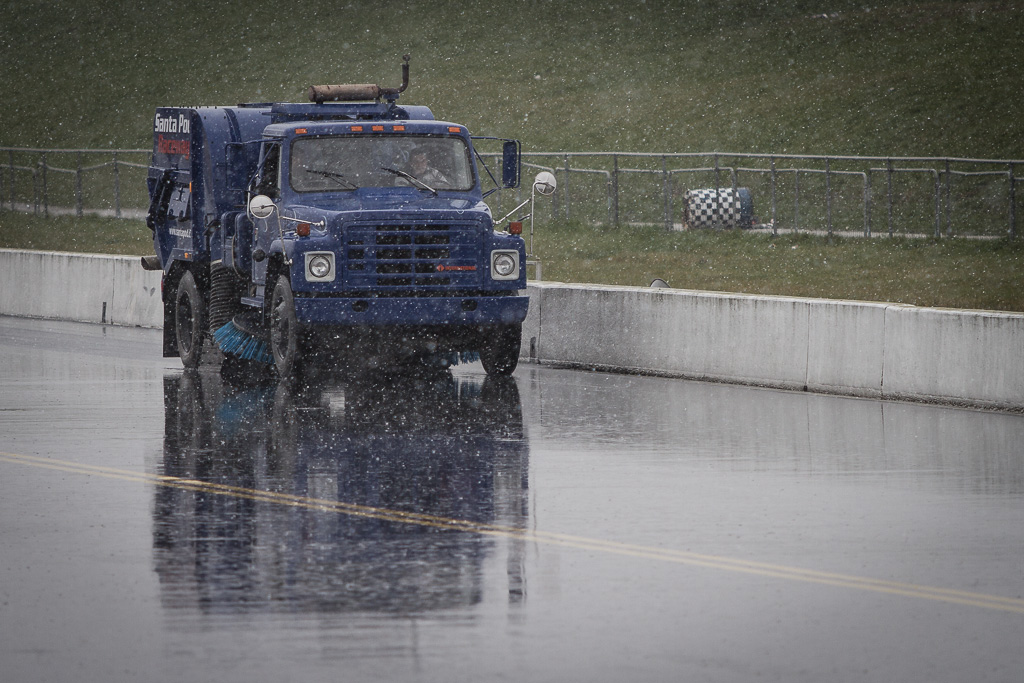 Trying to dry the track as the sleet comes down